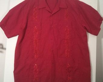 70s men's shirt grunge tiki lounge cocktail seventies leisure suit XL 48 50 boho beatnik
