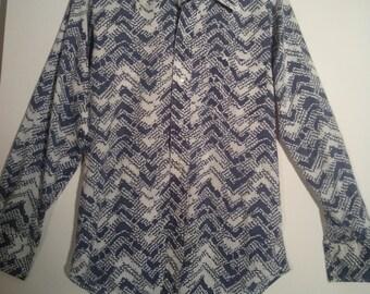 70s men's chevron print dress shirt small medium PutOn grunge tiki lounge cocktail seventies 38 boho