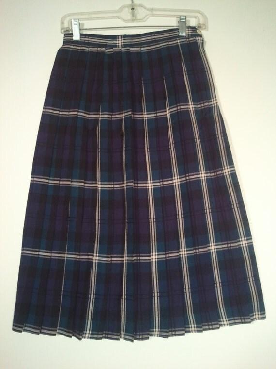 blue green plaid skirt pleated skirt boho bohemian
