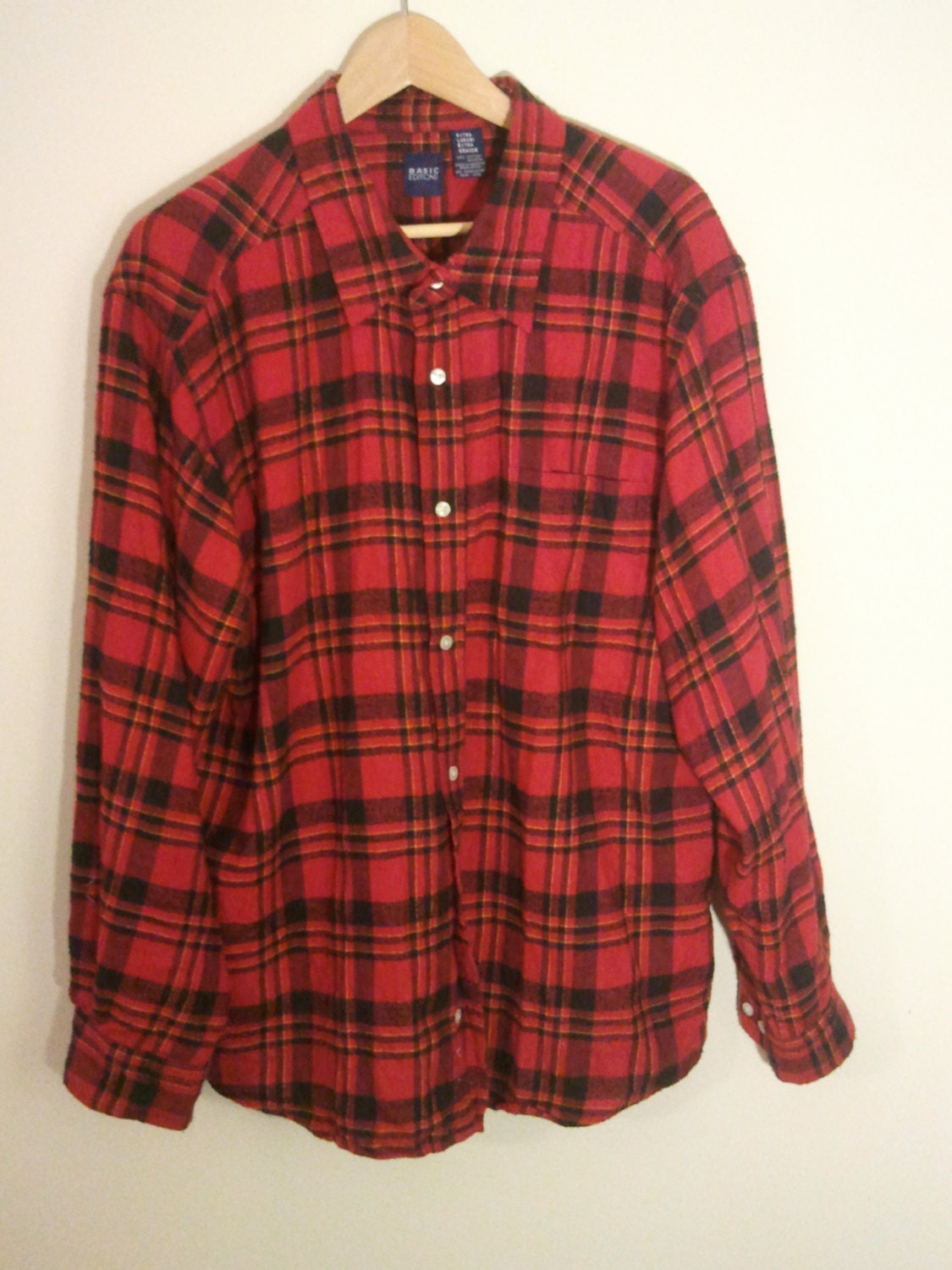 Punk Plaid Tartan Shirt Cotton Flannel Grunge 46 48 L Xl Red