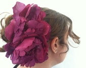large purple peony hair clip