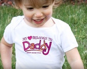 My Heart Belongs to Daddy Valentine's Day Personalized Bodysuit or Tee