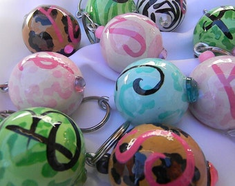 Initial Wooden Ball Bubble Key Chains-wholesale available-wooden key fob-personalized