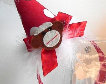 HeadBand Birthday Party Hats - Monkey Party Hat-First Birthday Hat-Removable Clip hat