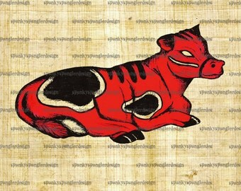 Cow Digital Image Download - Digital Download for Iron on Transfer, Papercrafts, T-Shirts, Tote Bags, Cushions