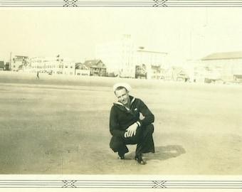 WW2 Navy Sailor Posing on the Beach Wearing Uniform World War 2 1940s Vintage Black White Photo Photograph