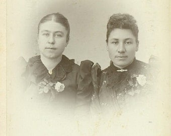 Waseca Waterville Minnesota Sisters Rose Women Victorian Dress Cabinet Card Studio Portrait Antique Photograph Photo