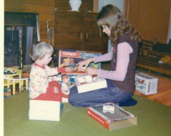 1970s Christmas Morning Playskook Tonka Truck Gifts Playing with Toys Vintage Color Photo Photograph