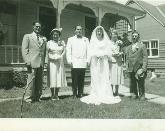 Wedding Day Bride Groom and Parents Standing on Front Yard Vintage Black and White Photo Photograph
