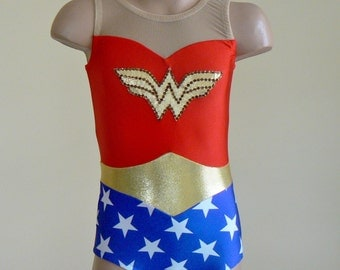 Wonder Woman Inspired Toddlers Girls Leotard. Gymnastic Dance Wonder Woman Leotard. Performance Leotard. Dancewear. Size 2T through Girls 12