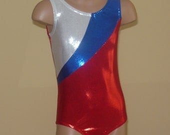 Gymnastics Leotard Red Blue  White. Patriotic Leotard. Toddlers Girls Gymnastics Leotards. SIZES 2T - Girls 12