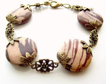 brown beaded bracelet, gemstone bracelet, zebra jasper bracelet