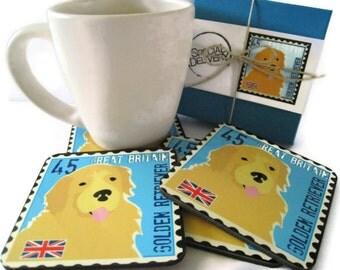 Golden Retriever Art Dog Coasters Home Decor Hostess Gift