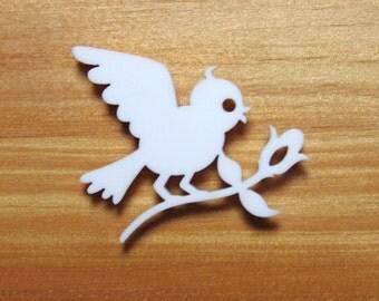 Laser Cut Acrylic Brooch Bird Bringing Flower - Red or White or black SALE