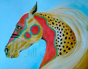 Native War Hunter Horse Art Painting Print Jill Claire Original