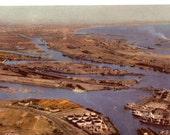 Vintage Union Oil Postcard, Los Angeles, Long Beach Harbor, 1940s