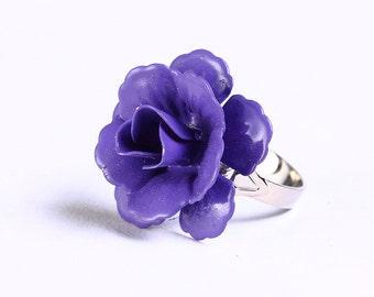 Purple mauve rosebud adjustable ring flower cocktail ring (694-12) - Flat rate shipping