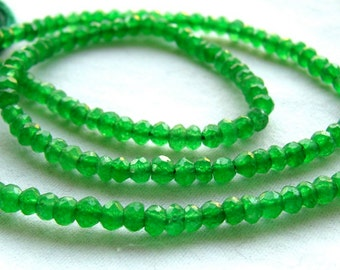 Green Mystic Quartz Faceted Rondelles, 13.5 inches, 3mm (12k21)
