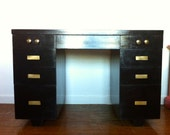 Mid Century Modern 1960s Black Gloss 7 Drawer Full Size Desk