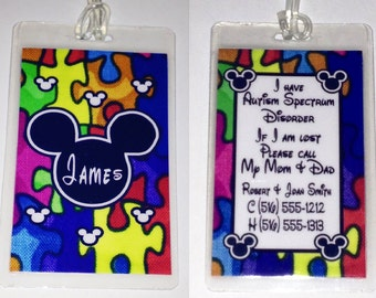 Autism Awareness Personalized  DISNEY Luggage Tags  MICKEY MOUSE  Laminated 10mil