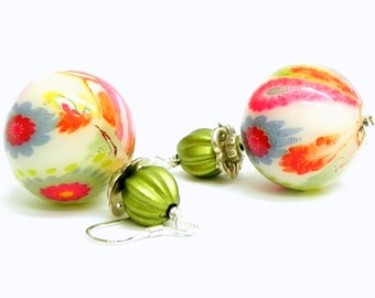 Colorful lucite flower earings - Steling Silver earwires
