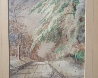 Beautiful antique painting  of snowy road 1936