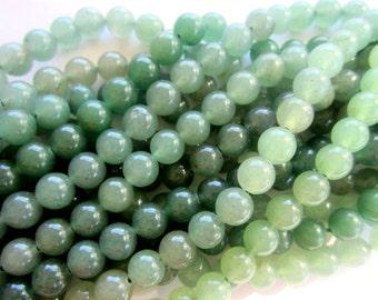 Aventurine beads green 8mm spacers natural stone jewelry supplies quartz gemstone 16 inch strand MSMC-P7