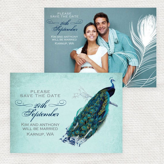 vintage peacock wedding save the date or engagement announcement - printable file - photo save the date or postcard
