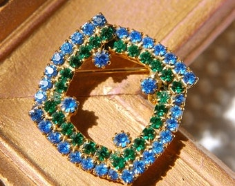 Vintage Rhinestone Brooch with Emerald and Sapphire Rhinestones