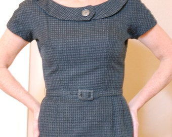 Vintage 1950s Dress Gray Charcoal with Black Wool Sheath with Matching Jacket by Jerry Gilden SALE! Orig. 125.00 - now 93.75
