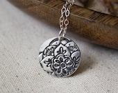 Silver Mehndi Lotus flower Necklace