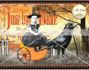 JUNE BUG DANCE - Primitive Halloween Postcards