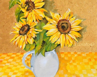 Sunflower painting, oil on canvas, textured painting, garden art, fine art, Home decor, wall art, Floral painting,
