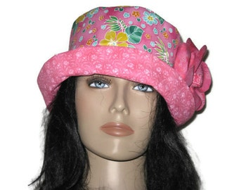Cloche Bucket Hat Pink Tropical Floral Womens