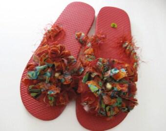 Decorated Floral  Flip Flops Red