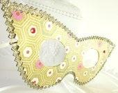 Green Gold and Pink Retro Hexagon Cats Eye Masquerade Mask