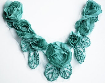Chiffon Rose Lace Collar Trim Appliqué Teal Blue 3D Bridal Wedding Camellia Ruffled Flower FREE Combine Shipping US LA025