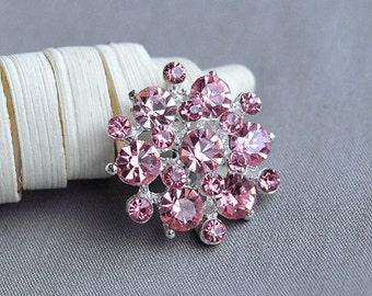 5 Rhinestone Button Embellishment Light Pink Crystal Bridal Hair Comb Wedding Brooch Bouquet Invitation Cake Decoration BT198