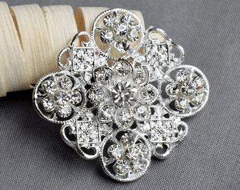 5 Large Rhinestone Button Embellishment Pearl Crystal Wedding Brooch Bouquet Invitation Cake Decoration Hair Comb Clip BT520