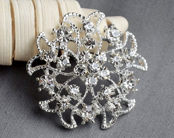 5 Large Rhinestone Button Embellishment Pearl Crystal Wedding Brooch Bouquet Invitation Cake Decoration Hair Comb Clip BT392