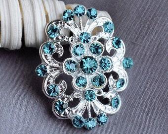 5 Teal Blue Aqua Blue Rhinestone Button Crystal Embellishment Wedding Brooch Bouquet Cake Hair Comb Shoe Clip Supply BT442