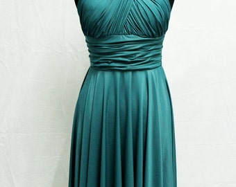 Convertible Emerald Green Dress ,Bridesmaid Infinity Dress, Prom, Ready Made, Dark Gray, Blush, Red, Lilac, Sale, Formal, Party