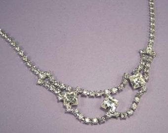 Vintage Rhinestone Necklace / Wedding Necklace / Bridal Necklace / Wedding Jewelry / Bridal Jewelry / Prom Necklace