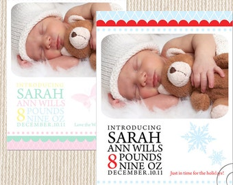 Printable custom birth announcement or thank you shower invitation any colour add your pic 2 sample DIGITAL personalized