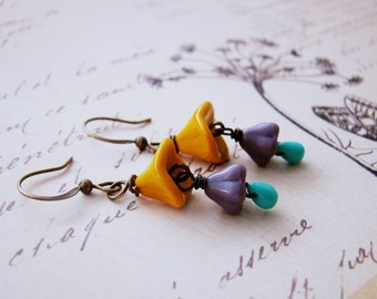 Vintage style whimsical yellow ochre purple turquoise bell flower dangle nickel free earrings, teenage daughter, for wife, botanical,