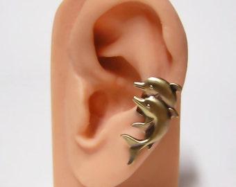Ocean Blue Dolphin Ear Cuff