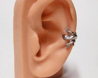 Silver Lizard Ear Cuff, lizard body wrap around ear (sw) .925