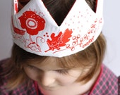 Flower Crown ~ Sewing kit ~ Red, Neon Pink Fabric Crown, flowers and bird ~DIY