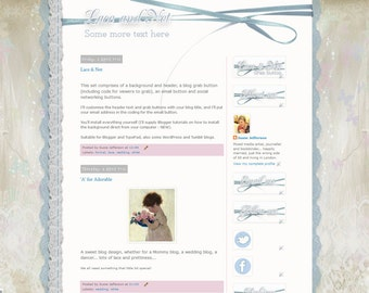 SATIN & LACE - a dreamy, ready-made set of background, header, buttons and social icons etc, to dress up your Blogger blog.
