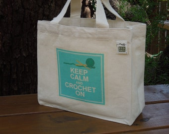 Small recycled cotton canvas tote - Canvas crochet bag - Carry yarn bag - Keep calm and crochet on